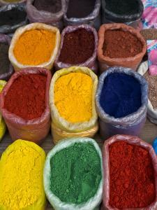 Colourful Spices at Market Stall, Osh, Kyrgyzstan, Central Asia, Asia by Michael Runkel
