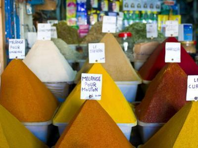 Colourful Spices in the Souk of the Coastal City of Essaouira, Morocco, North Africa, Africa