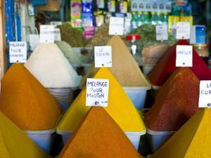 Colourful Spices in the Souk of the Coastal City of Essaouira, Morocco, North Africa, Africa by Michael Runkel