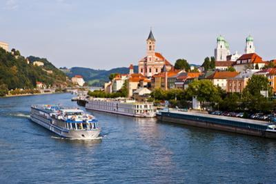 Cruise Ship Passing on the River Danube, Passau, Bavaria, Germany, Europe by Michael Runkel