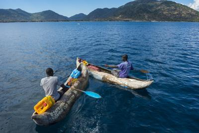 Fishermen on their Canoes Going Fishing, Cape Malcear, Lake Malawi, Malawi, Africa by Michael Runkel