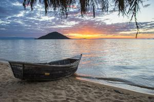 Fishing Boat at Sunset at Cape Malcear, Lake Malawi, Malawi, Africa by Michael Runkel