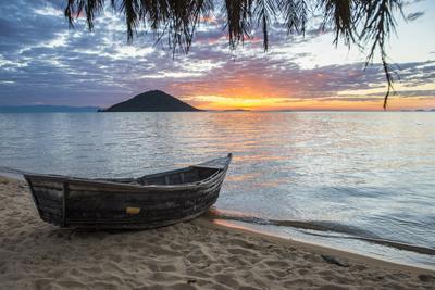 Fishing Boat at Sunset at Cape Malcear, Lake Malawi, Malawi, Africa