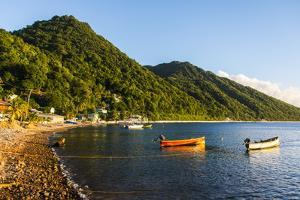 Fishing Boats in the Bay of Soufriere, Dominica, West Indies, Caribbean, Central America by Michael Runkel