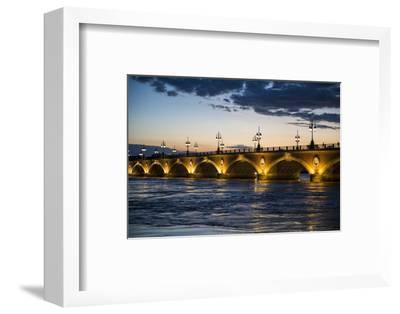 Historic Bridge Pont De Pierre over the Garonne River at Sunset, Bordeaux, Aquitaine, France