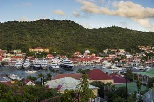 Luxury yachts, in the harbour of Gustavia, St. Barth (Saint Barthelemy), Lesser Antilles, West Indi by Michael Runkel