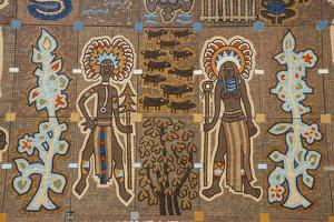 Mosaics on the entrance of the National Parliament, Port Moresby, Papua New Guinea, Pacific by Michael Runkel