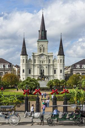 Old Horse Carts in Front of Jackson Square and the St. Louis Cathedral, New Orleans, Louisiana