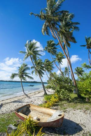 Palm Fringed White Sand Beach on an Islet of Vava'U, Tonga, South Pacific