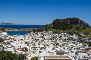 Panoramic View of Beautiful Lindos Village with its Castle (Acropolis) by Michael Runkel