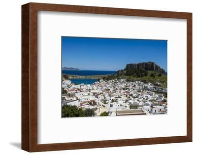 Panoramic View of Beautiful Lindos Village with its Castle (Acropolis)