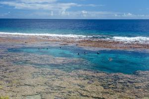 People swimming in the amazing Limu low tide pools, Niue, South Pacific, Pacific by Michael Runkel