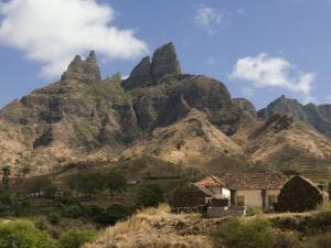 Rocky Landscape with Farm Buildings, Santiago, Cape Verde, Africa by Michael Runkel