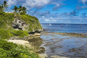 Sailing boats in the harbour of Niue, South Pacific, Pacific by Michael Runkel