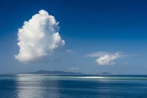 Sand bank in the flat ocean, Mamanuca Islands, Fiji, South Pacific by Michael Runkel