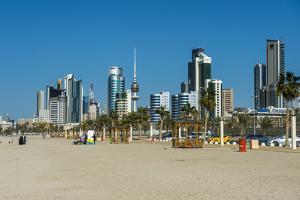 Shuwaikh beach and skyline of Kuwait City, Kuwait, Middle East by Michael Runkel