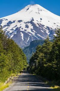 Snowcapped Volcano Villarrica Towering Above Pucon, Southern Chile, South America by Michael Runkel