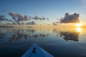 Sunset over the calm waters of Tikehau, Tuamotus, French Polynesia, Pacific by Michael Runkel
