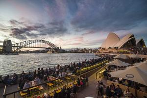 Sydney Harbour with the Harbour Bridge and Opera House after sunset, Sydney, New South Wales, Austr by Michael Runkel