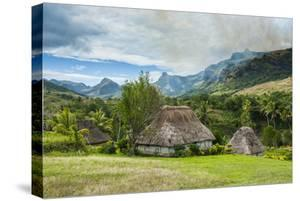 Traditional Thatched Roofed Huts in Navala in the Ba Highlands of Viti Levu, Fiji, South Pacific by Michael Runkel