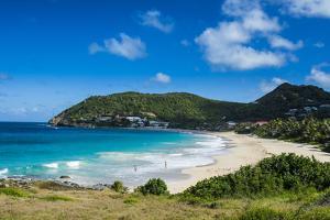 View over Flamand Beach, St. Barth (Saint Barthelemy), Lesser Antilles, West Indies, Caribbean, Cen by Michael Runkel