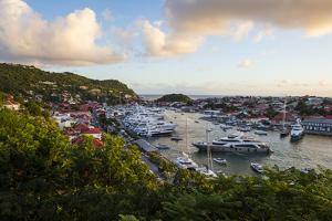 View over the harbour of Gustavia, St. Barth (St. Barthelemy), Lesser Antilles, West Indies, Caribb by Michael Runkel