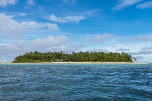 White sand beach and turquoise water, Marine National Park, Tuvalu, South Pacific by Michael Runkel