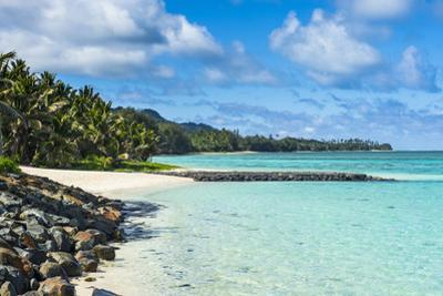 White sand beach and turquoise waters, Rarotonga and the Cook Islands, South Pacific, Pacific by Michael Runkel