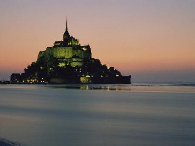 Mont Saint Michel Island Fortress, Town at Sunrise