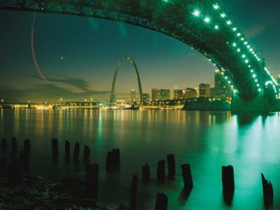 Night View of St. Louis Near the Eads Bridge by Michael S^ Lewis