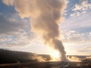 Old Faithful Geyser Erupts at Sunrise, Yellowstone by Michael S. Lewis