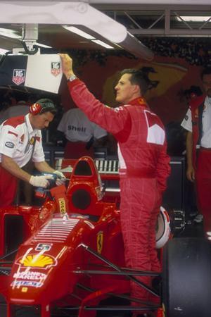 Michael Schumacher with Ferrari, British Grand Prix, Silverstone, Northamptonshire, 1997