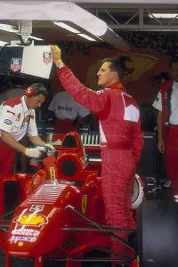 Michael Schumacher with Ferrari, British Grand Prix, Silverstone, Northamptonshire, 1997