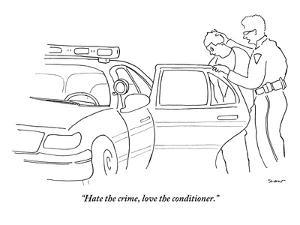 """""""Hate the crime, love the conditioner."""" - New Yorker Cartoon by Michael Shaw"""