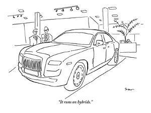 """It runs on hybrids."" - New Yorker Cartoon by Michael Shaw"