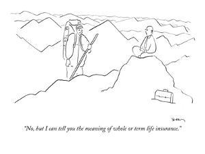 """""""No, but I can tell you the meaning of whole or term life insurance."""" - New Yorker Cartoon by Michael Shaw"""