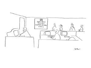 Office sign reads, '14 days Since the Last Inappropriate E-mail.' - New Yorker Cartoon by Michael Shaw