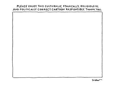 Title over empty cartoon frame reads, 'Please Enjoy this Culturally, Ethni? - New Yorker Cartoon
