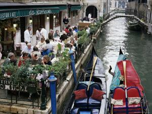 Canalside Restaurant, Venice, Veneto, Italy by Michael Short