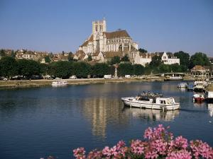St. Stephen's Cathedral on Skyline, Auxerre, River Yonne, Bourgogne, France by Michael Short