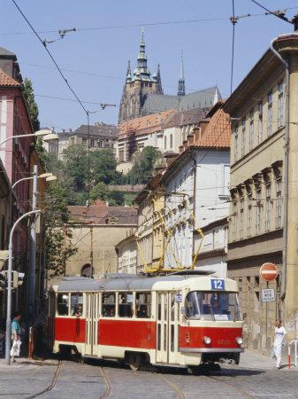 Tram in the Lesser Quarter, Prague, Czech Republic, Europe