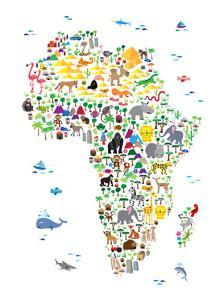 Animal Map of Africa for children and kids by Michael Tompsett