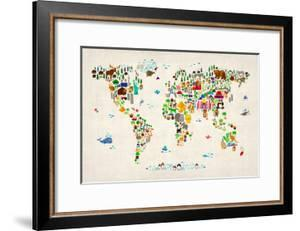 Animal Map of the World by Michael Tompsett