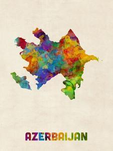 Azerbaijan Watercolor Map by Michael Tompsett