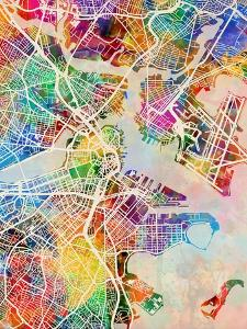 Boston Massachusetts City Street Map by Michael Tompsett