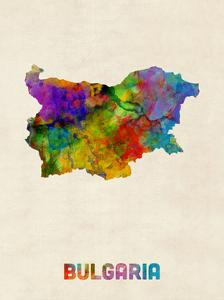 Bulgaria Watercolor Map by Michael Tompsett