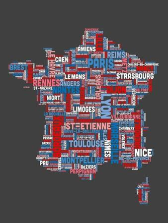 City Text Map of France by Michael Tompsett