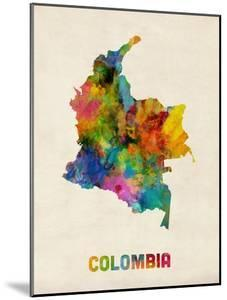 Colombia Watercolor Map by Michael Tompsett