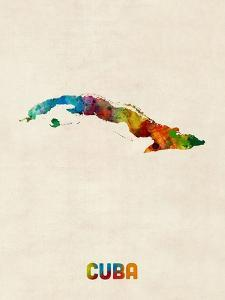 Cuba Watercolor Map by Michael Tompsett