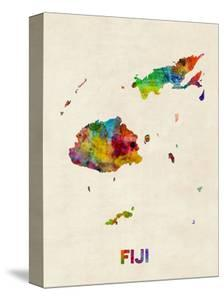 Fiji Watercolor Map by Michael Tompsett